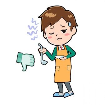 Chłopiec postać z kreskówki ładny, gotować zły smak
