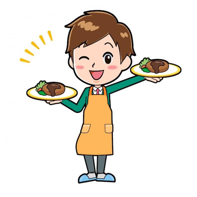 Chłopiec postać z kreskówki ładny, kelnerka kucharz