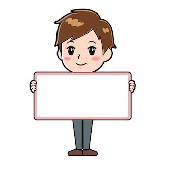 Chłopiec postać z kreskówki ładny, trzymając