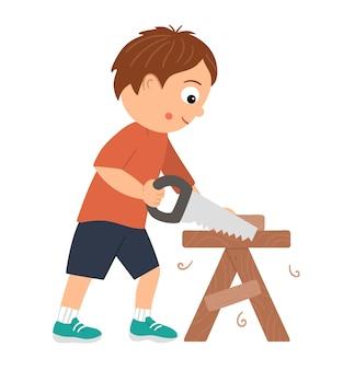 Chłopiec pracujący wektor. płaski zabawny dzieciak postać piłowanie drewna piłą na stole roboczym. ilustracja lekcji rzemiosła. koncepcja dziecka uczącego się pracy z narzędziami.