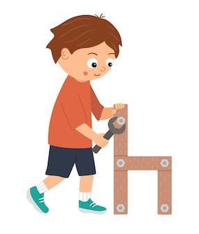 Chłopiec pracujący wektor. płaski zabawny dzieciak, wkręcający śrubę w drewniane krzesło za pomocą śrubokręta. ilustracja lekcji rzemiosła. koncepcja dziecka uczącego się pracy z narzędziami.
