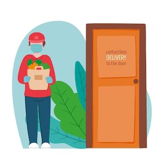 Chłopiec przy bezpiecznych dostawach żywności u drzwi
