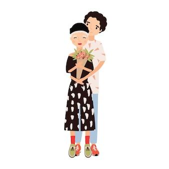 Chłopiec przytulanie dziewczyna trzyma bukiet. śliczna romantyczna para przytulanie na randkę. młody mężczyzna i kobieta w miłości. szczęśliwy postaci z kreskówek na białym tle