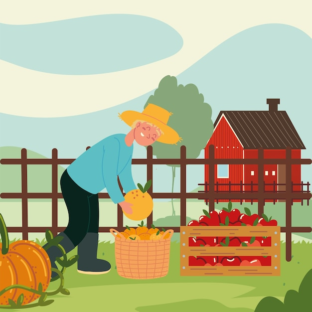 Chłopiec rolnik zbierający owoce