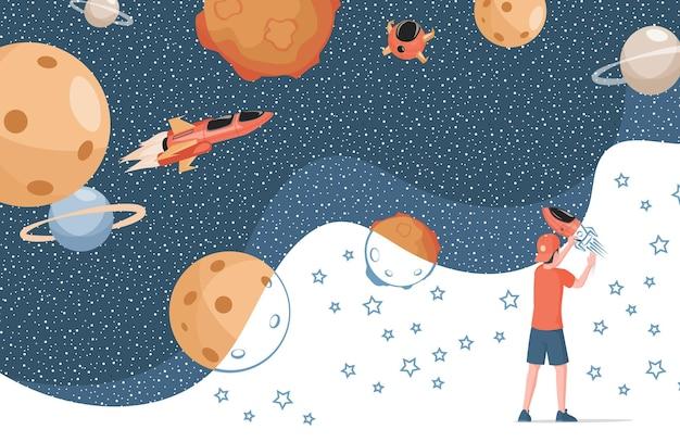 Chłopiec rysuje ilustrację kosmosu, planet, statków kosmicznych i gwiazd