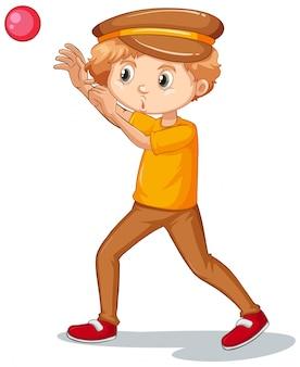 Chłopiec rzuca piłkę na bielu