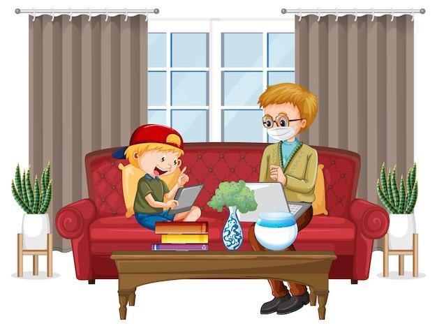 Chłopiec siedzi na kanapie i uczy się z tabletu