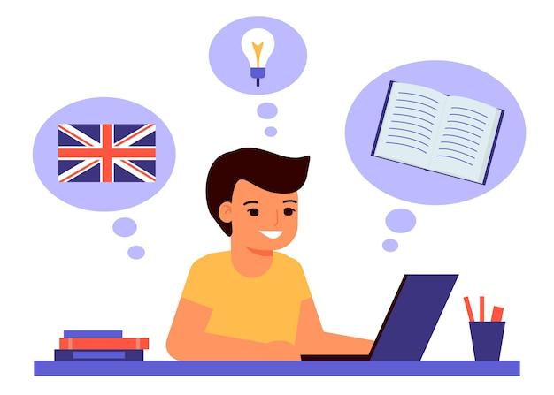 Chłopiec siedzi na laptopie i uczy się lekcji angielskiego.