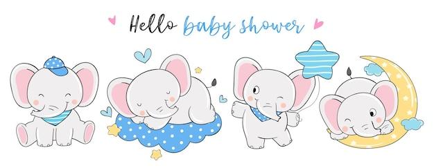 Chłopiec słoń na baby shower doodle stylu cartoon