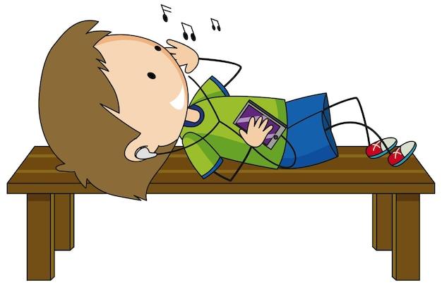 Chłopiec słuchający muzyki z kreskówek na białym tle