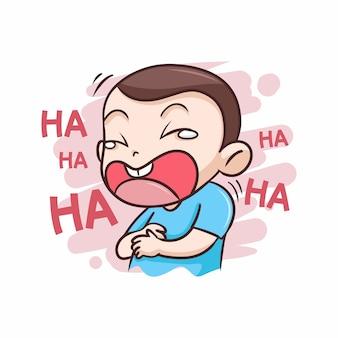 Chłopiec śmiejąc się bardzo szczęśliwy ilustracji