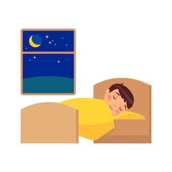 Chłopiec śpi na łóżku. ilustracja codziennego reżimu