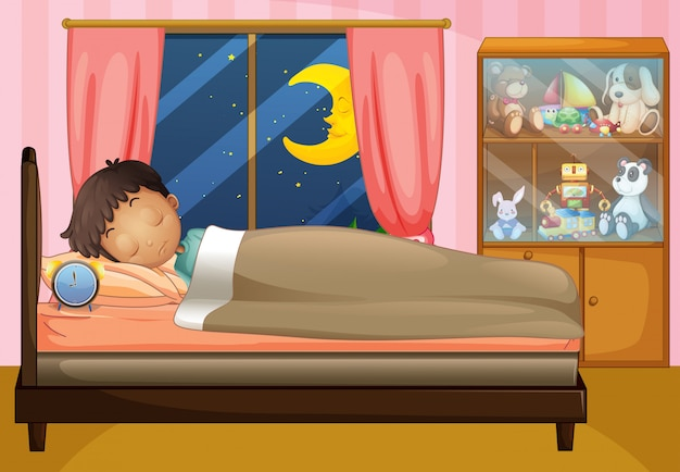 Chłopiec śpi w swojej sypialni