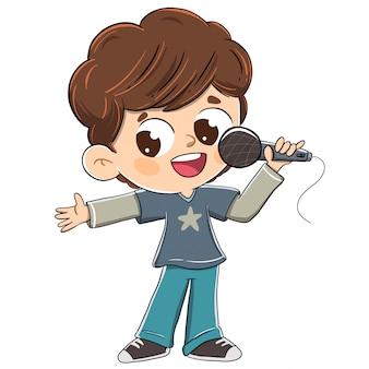 Chłopiec śpiewa z mikrofonem lub robi prezentację