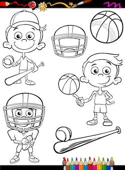Chłopiec sportowiec zestaw kreskówka kolorowanki