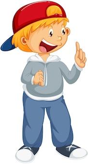 Chłopiec stojący postać z kreskówki na białym tle