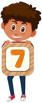 Chłopiec student posiadający numer postać z kreskówki na białym tle