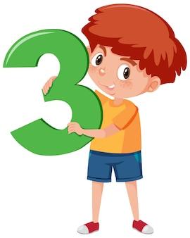 Chłopiec student posiadający numer postać z kreskówki