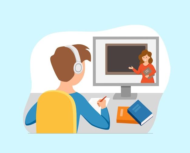Chłopiec studiuje edukacja online w domu ilustracja kreskówka wektor. student w miejscu pracy komputer stacjonarny odrabiania lekcji, surfowanie po internecie, e-learning, koncepcja lekcji w szkole. proces uczenia się ucznia-dziecko