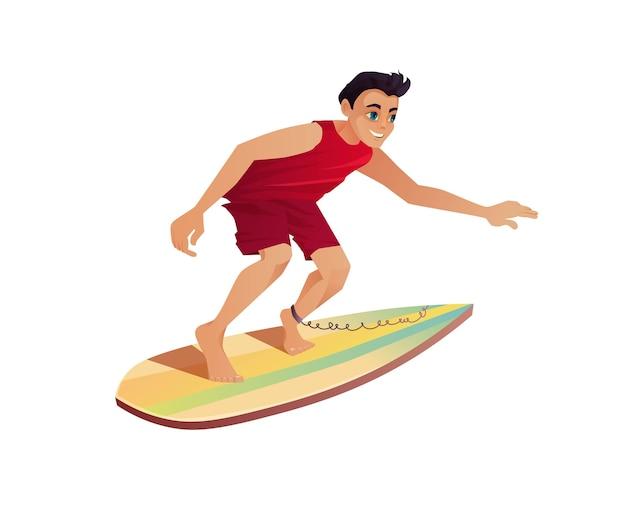 Chłopiec surfuje. mężczyzna pływa z deską do ciała.