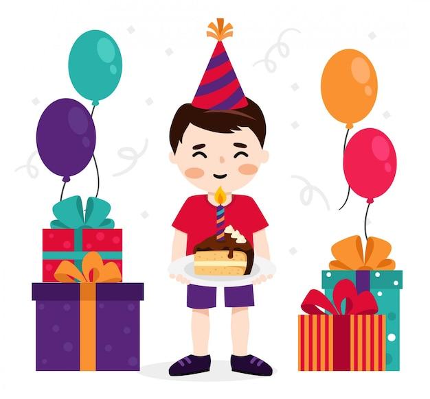 Chłopiec świętuje swoje urodziny z ciasta i prezenty