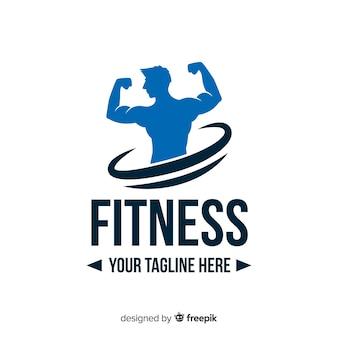 Chłopiec sylwetka fitness logo płaska konstrukcja