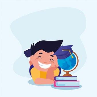 Chłopiec szkolny dzieciak z książkami ilustracyjnymi