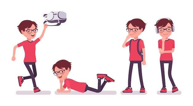 Chłopiec szkoły korzystających z wolnego czasu. śliczny mały facet w okularach z plecakiem po lekcjach, aktywny młody dzieciak, mądry uczeń podstawówki w wieku od 7 do 9 lat. ilustracja kreskówka wektor płaski