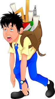 Chłopiec szkoły przewożących ciężkie tornister na białym tle.