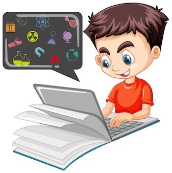 Chłopiec szuka na laptopie z ikoną edukacji na białym tle