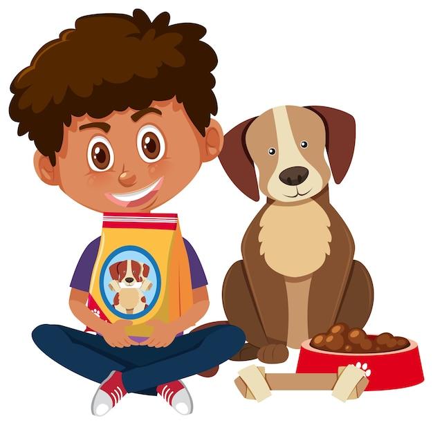 Chłopiec trzyma karmę dla psów z ładny pies na białym tle