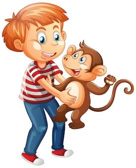 Chłopiec trzyma małą małpkę na białym tle