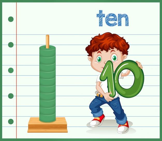 Chłopiec trzyma numer zero