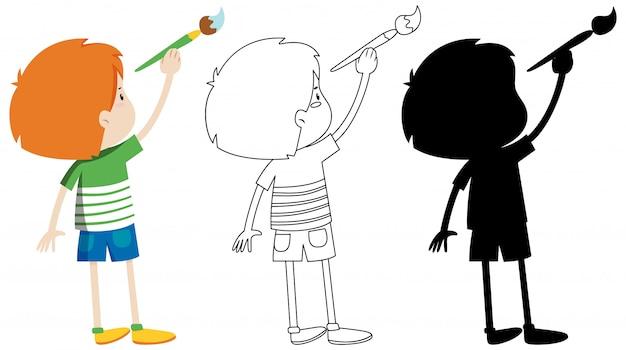 Chłopiec trzyma pędzel z jego zarys i sylwetka