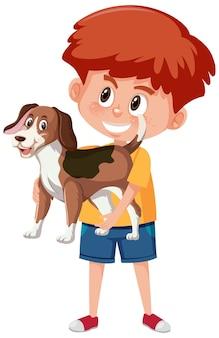 Chłopiec trzyma postać z kreskówki ładny zwierząt na białym tle