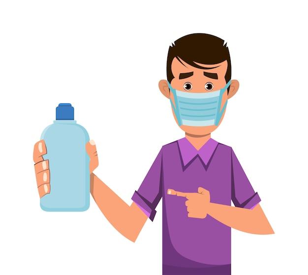 Chłopiec trzyma sanitizer gel butelkę i pokazuje