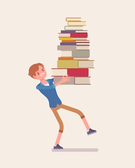 Chłopiec trzyma stos książek