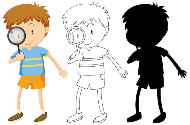 Chłopiec trzyma szkło powiększające w kolorze i zarysie i sylwetka