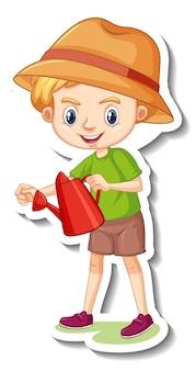 Chłopiec trzymający konewkę naklejka z postacią z kreskówek