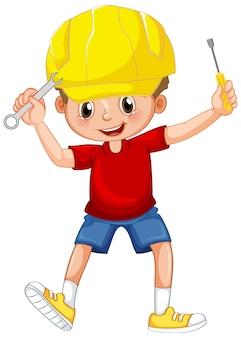 Chłopiec trzymający narzędzia ręczne na białym tle