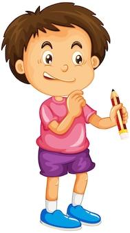 Chłopiec trzymający postać z kreskówki ołówka na białym tle