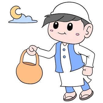 Chłopiec ubrany po arabsku muzułmańskim w nocy miesiąca ramadan, ilustracja wektorowa sztuki. doodle ikona obrazu kawaii.