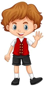 Chłopiec ubrany w czerwoną kamizelkę