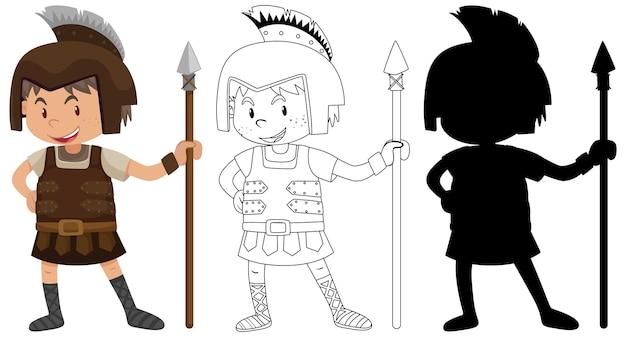 Chłopiec ubrany w strój rycerza z jego sylwetką i konturem