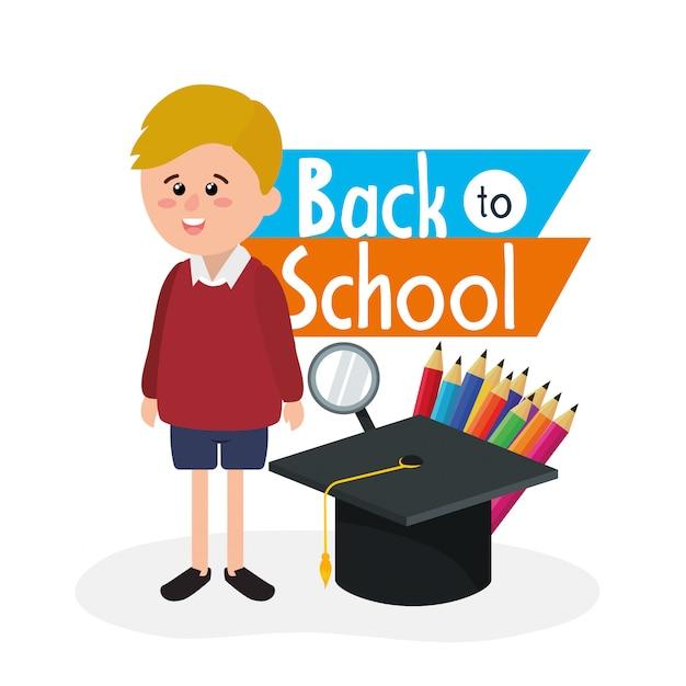 Chłopiec uczeń jest ubranym mundur z naczyniami