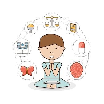 Chłopiec umysł umysłowego zdrowia i spokojny