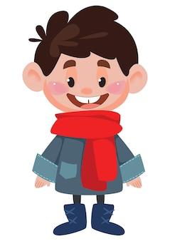 Chłopiec w ciepłej kurtce i szaliku duża głowa ilustracja wektorowa w stylu kreskówki dla dzieci