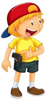 Chłopiec w czapce w stojącej pozie kreskówka na białym tle