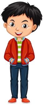 Chłopiec w czerwonej kurtce