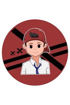 Chłopiec w kapeluszu idzie do szkoły ilustracja kreskówka